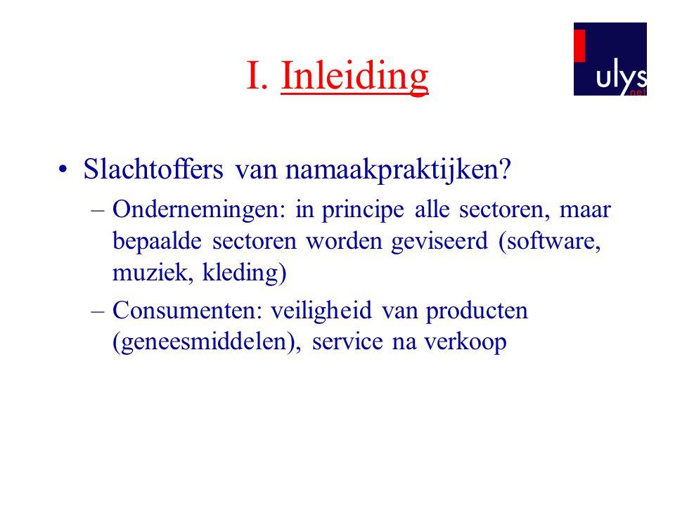 I. Inleiding •Slachtoffers van namaakpraktijken? –Ondernemingen: in principe alle sectoren, maar bepaalde sectoren worden geviseerd (software, muziek,