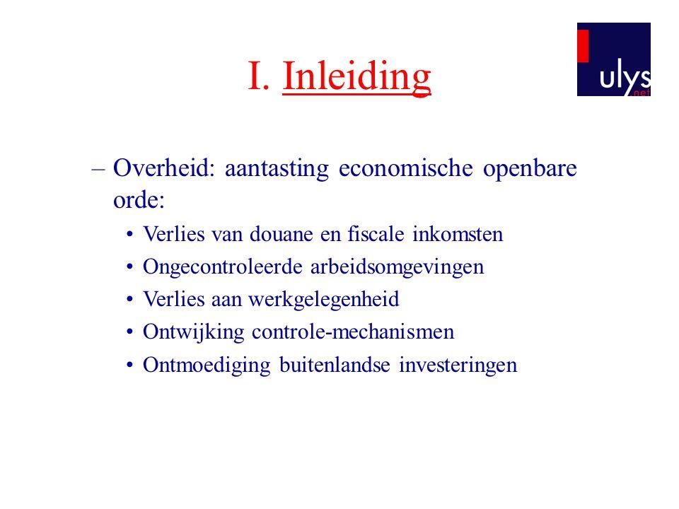 I. Inleiding –Overheid: aantasting economische openbare orde: •Verlies van douane en fiscale inkomsten •Ongecontroleerde arbeidsomgevingen •Verlies aa