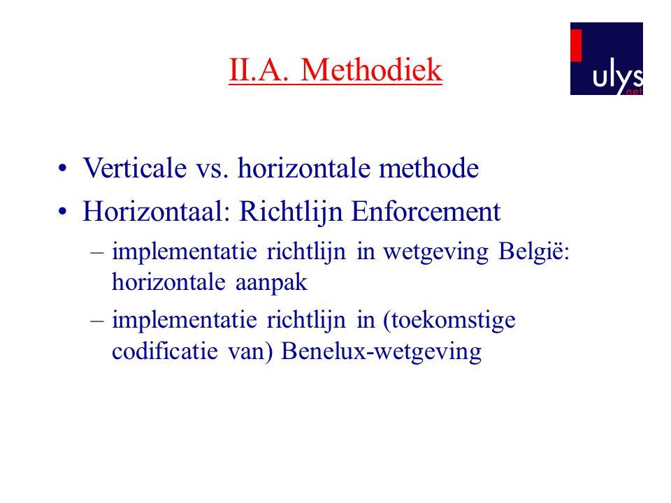 II.A. Methodiek •Verticale vs. horizontale methode •Horizontaal: Richtlijn Enforcement –implementatie richtlijn in wetgeving België: horizontale aanpa