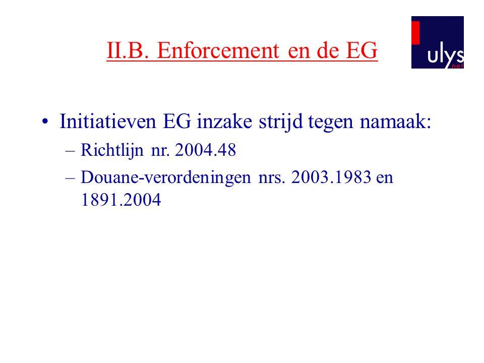 II.B. Enforcement en de EG •Initiatieven EG inzake strijd tegen namaak: –Richtlijn nr. 2004.48 –Douane-verordeningen nrs. 2003.1983 en 1891.2004