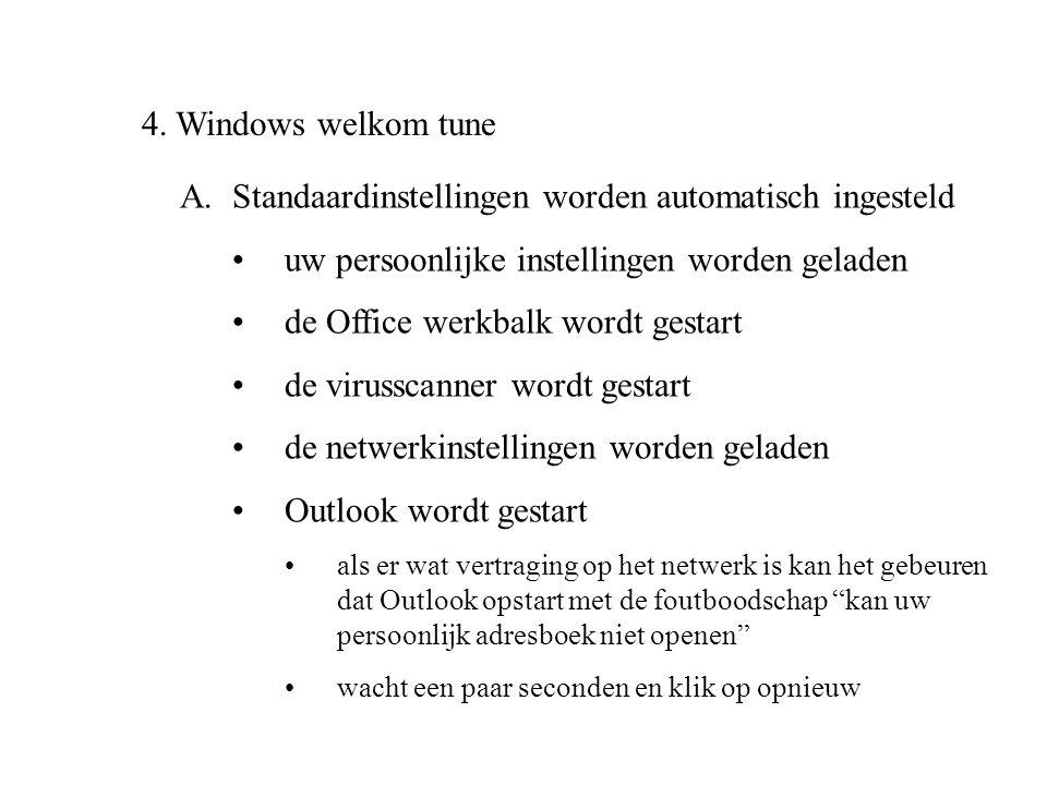 4. Windows welkom tune A.Standaardinstellingen worden automatisch ingesteld •uw persoonlijke instellingen worden geladen •de Office werkbalk wordt ges