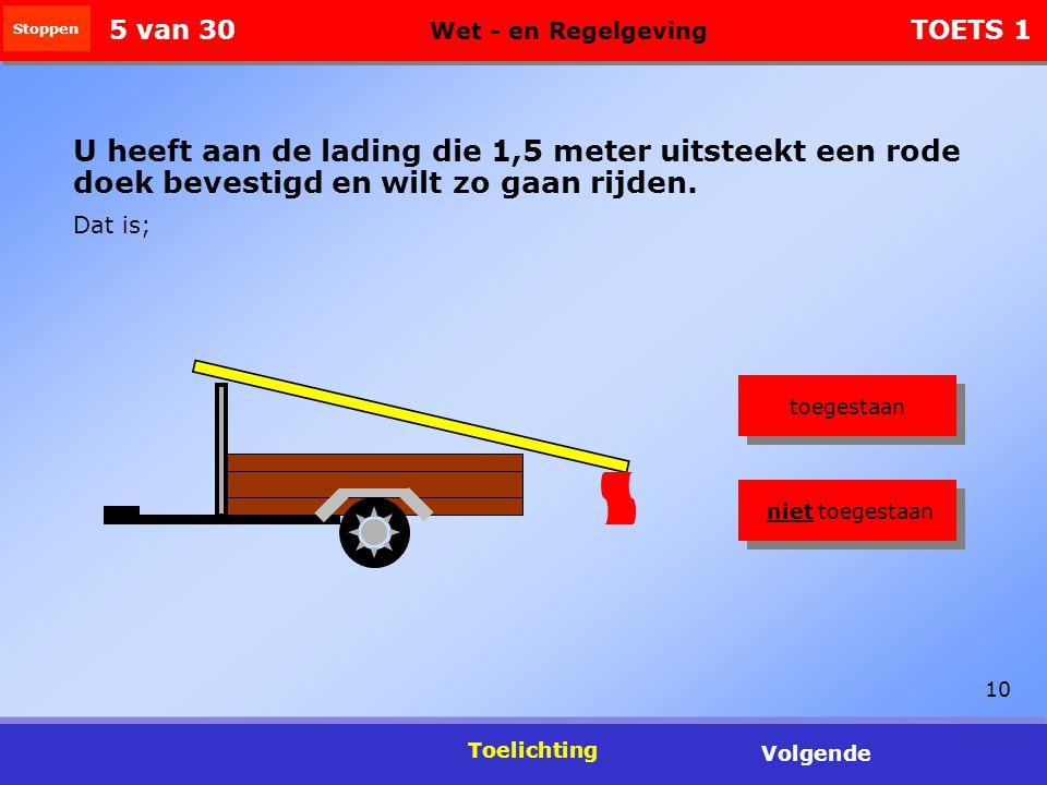 10 Toelichting Volgende U heeft aan de lading die 1,5 meter uitsteekt een rode doek bevestigd en wilt zo gaan rijden.