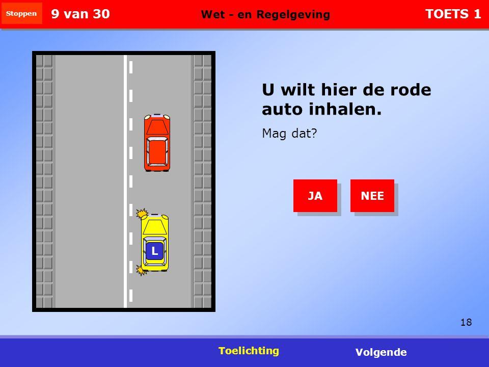 18 Toelichting Volgende U wilt hier de rode auto inhalen.