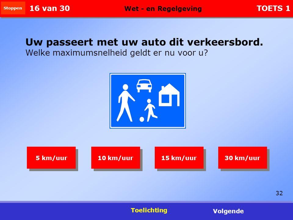 32 Toelichting Volgende Uw passeert met uw auto dit verkeersbord.