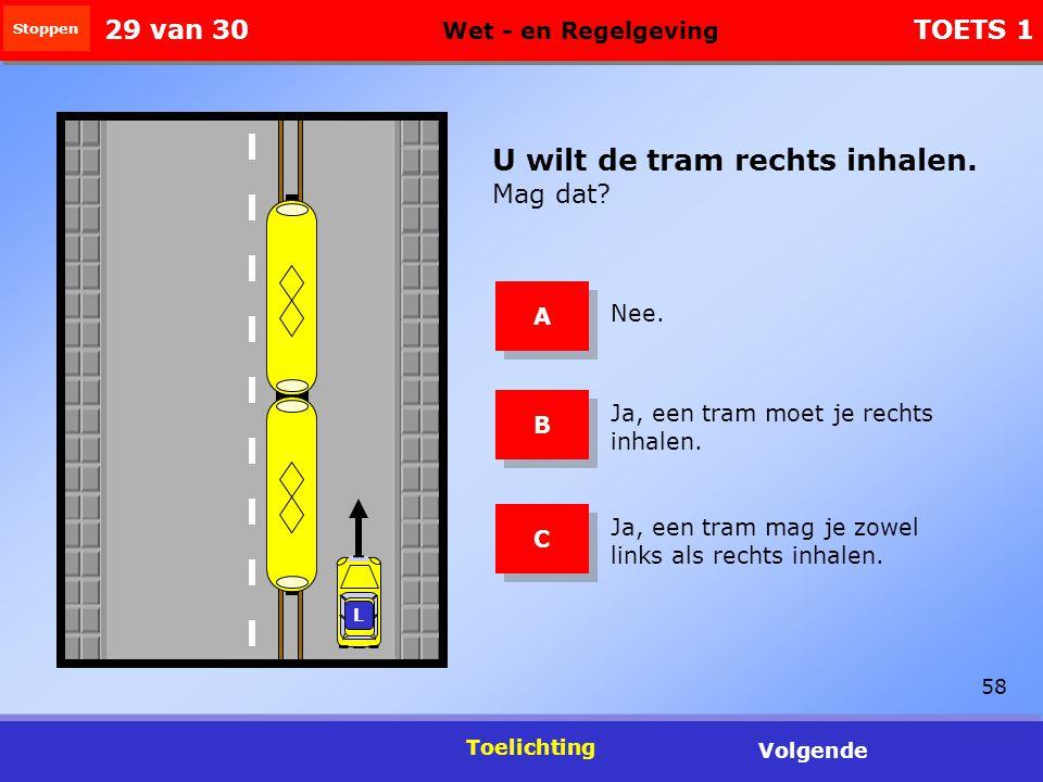 58 Toelichting Volgende U wilt de tram rechts inhalen.