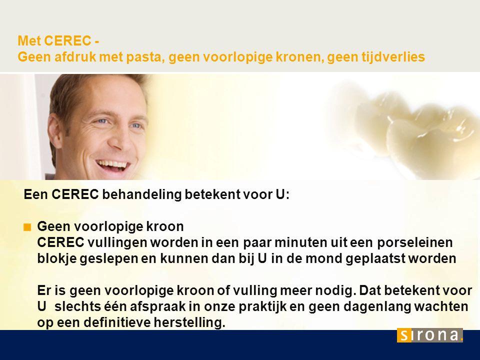 Met CEREC - Geen afdruk met pasta, geen voorlopige kronen, geen tijdverlies Een CEREC behandeling betekent voor U: Geen voorlopige kroon CEREC vulling