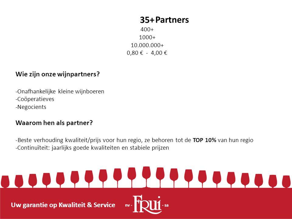 Uw garantie op Kwaliteit & Service 35+ 400+ 1000+ 10.000.000+ 0,80 € - 4,00 € Partners Wie zijn onze wijnpartners? -Onafhankelijke kleine wijnboeren -