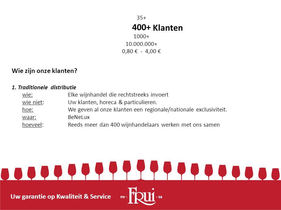 Uw garantie op Kwaliteit & Service Wie zijn onze klanten? 1. Traditionele distributie wie: Elke wijnhandel die rechtstreeks invoert wie niet: Uw klant