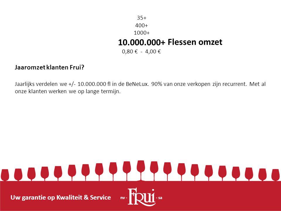 Uw garantie op Kwaliteit & Service Flessen omzet Jaaromzet klanten Frui? Jaarlijks verdelen we +/- 10.000.000 fl in de BeNeLux. 90% van onze verkopen