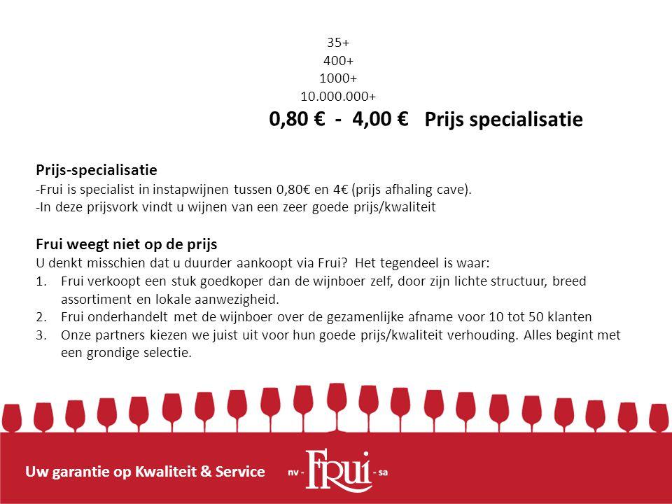 Uw garantie op Kwaliteit & Service Prijs-specialisatie -Frui is specialist in instapwijnen tussen 0,80€ en 4€ (prijs afhaling cave). -In deze prijsvor