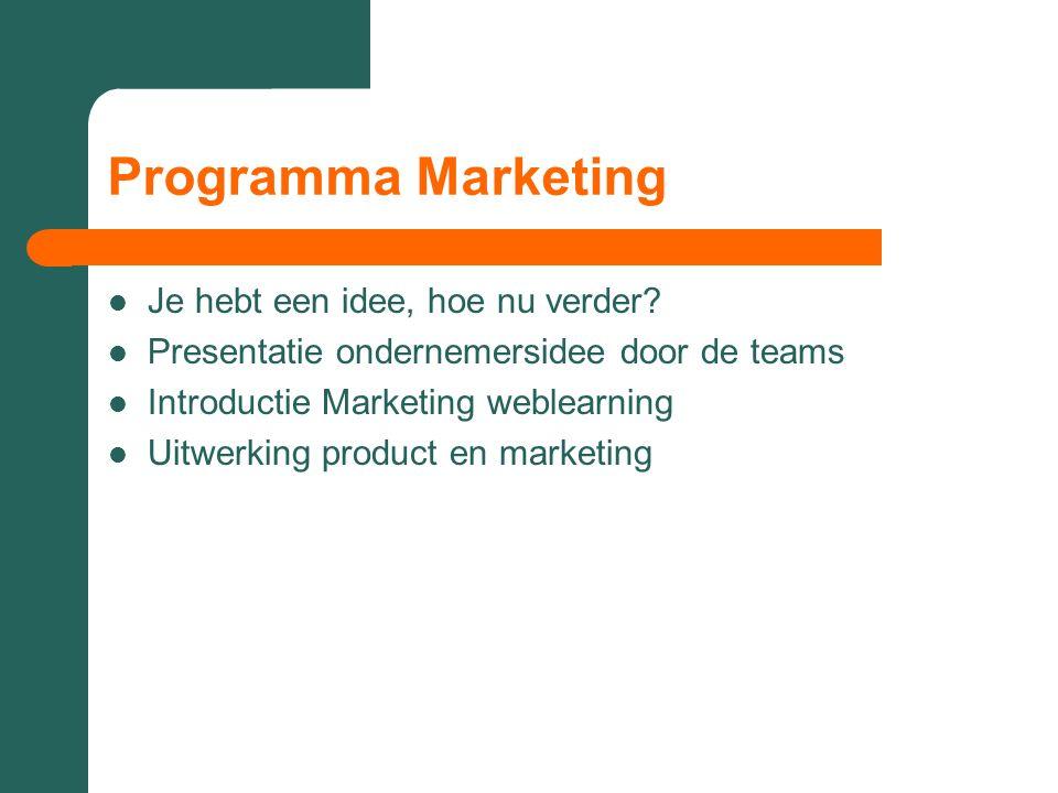 Programma Marketing  Je hebt een idee, hoe nu verder?  Presentatie ondernemersidee door de teams  Introductie Marketing weblearning  Uitwerking pr
