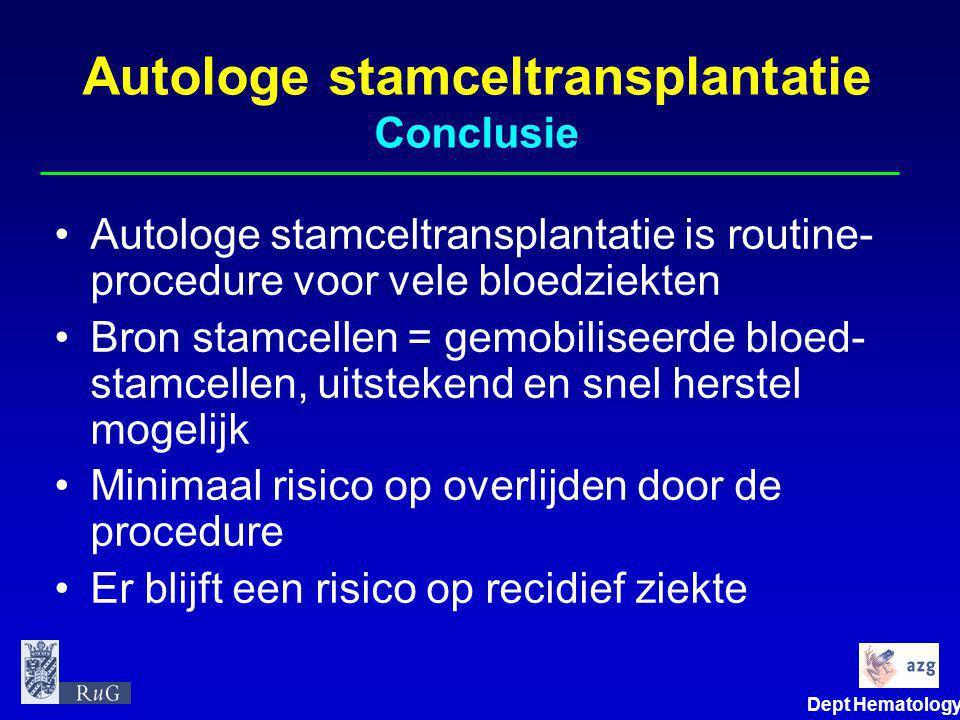 Dept Hematology Autologe stamceltransplantatie Conclusie •Autologe stamceltransplantatie is routine- procedure voor vele bloedziekten •Bron stamcellen