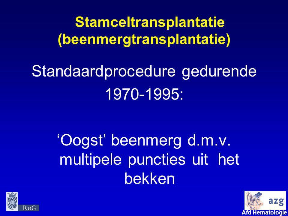 4 umcg Afd Hematologie Stamceltransplantatie (beenmergtransplantatie) Standaardprocedure gedurende 1970-1995: 'Oogst' beenmerg d.m.v. multipele puncti