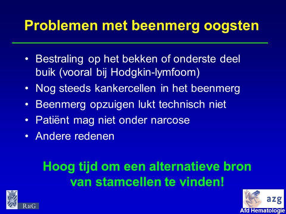 8 umcg Afd Hematologie Problemen met beenmerg oogsten •Bestraling op het bekken of onderste deel buik (vooral bij Hodgkin-lymfoom) •Nog steeds kankerc