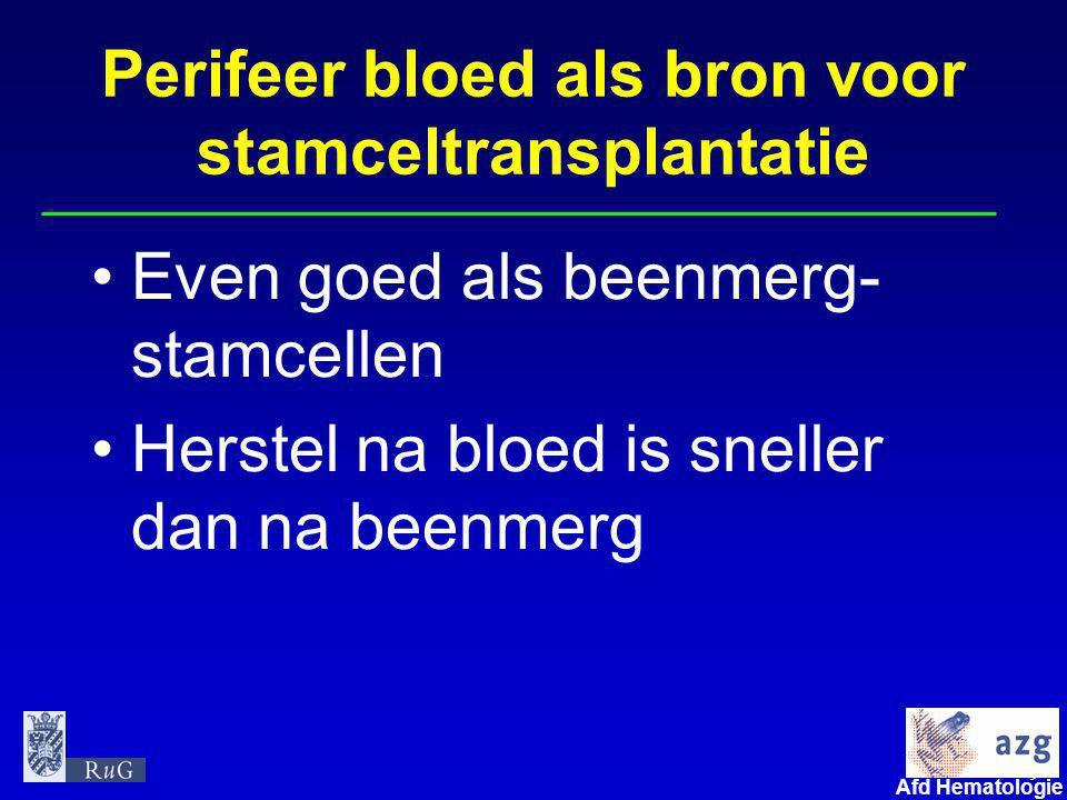 9 umcg Afd Hematologie Perifeer bloed als bron voor stamceltransplantatie •Even goed als beenmerg- stamcellen •Herstel na bloed is sneller dan na beenmerg