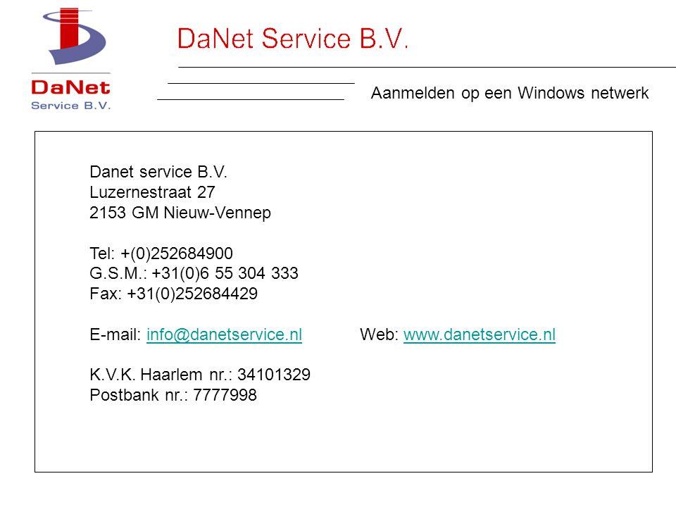 Aanmelden op een Windows netwerk Danet service B.V.