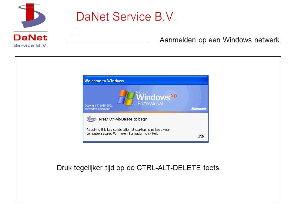 Aanmelden op een Windows netwerk Druk tegelijker tijd op de CTRL-ALT-DELETE toets.