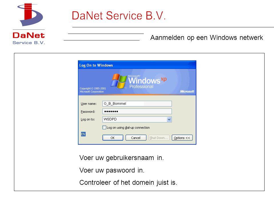 Aanmelden op een Windows netwerk Voer uw gebruikersnaam in.