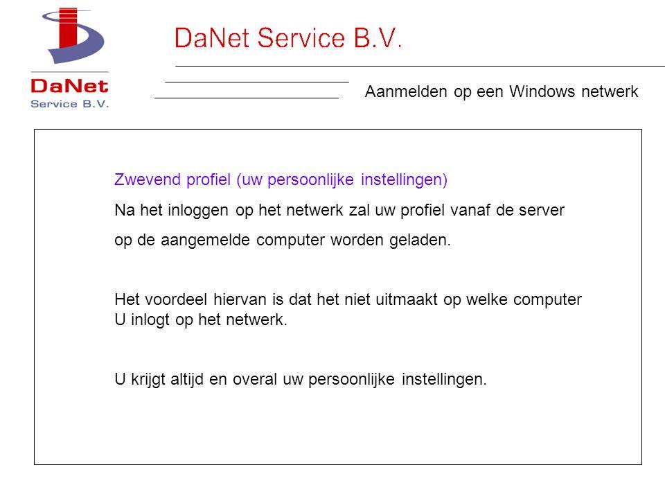 Aanmelden op een Windows netwerk Zwevend profiel (uw persoonlijke instellingen) Na het inloggen op het netwerk zal uw profiel vanaf de server op de aangemelde computer worden geladen.