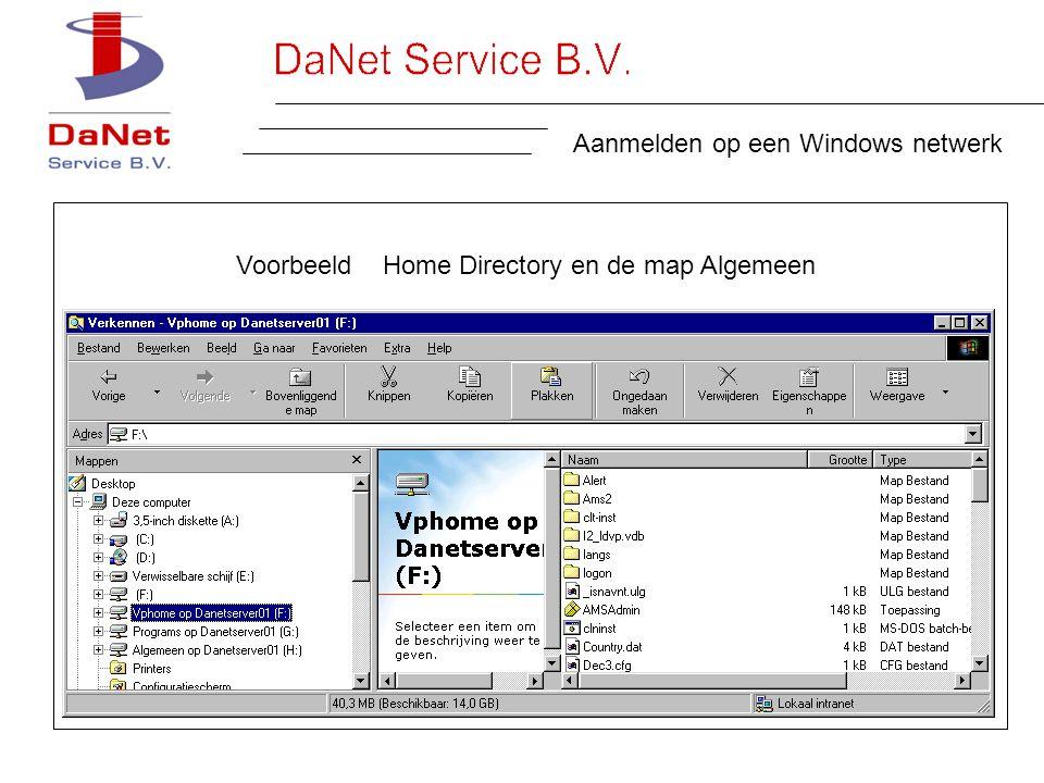 Aanmelden op een Windows netwerk Voorbeeld Home Directory en de map Algemeen
