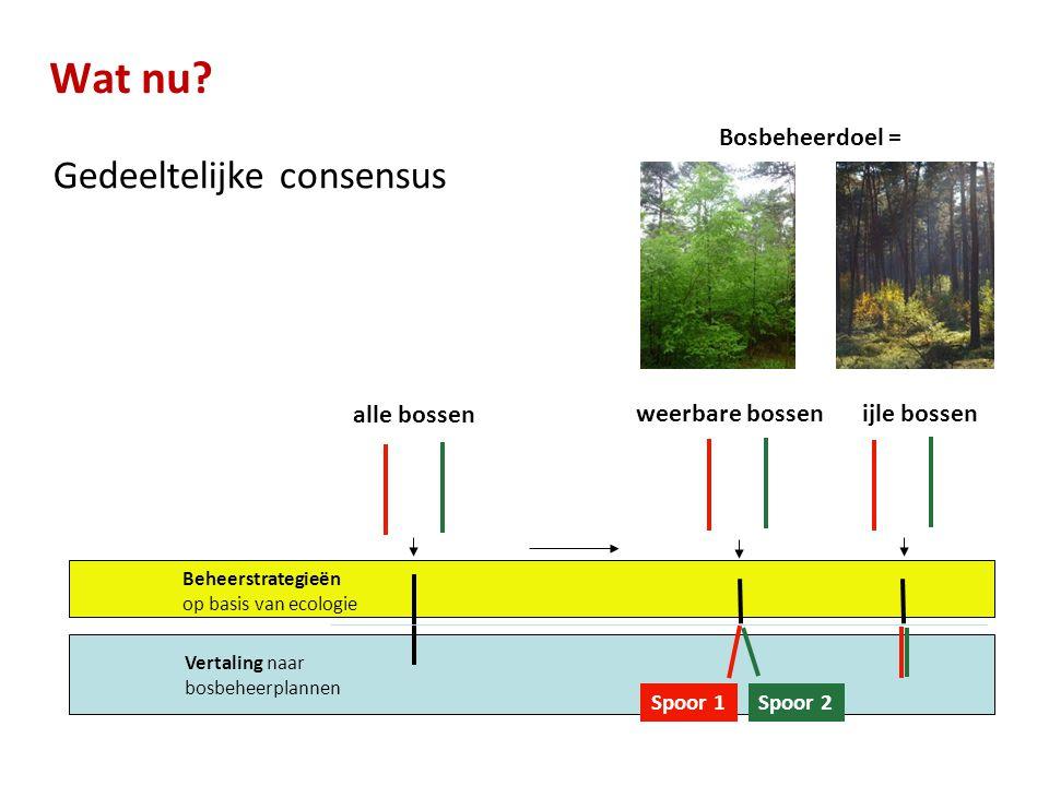 Wat nu? Gedeeltelijke consensus alle bossen weerbare bossenijle bossen Beheerstrategieën op basis van ecologie Vertaling naar bosbeheerplannen Spoor 1