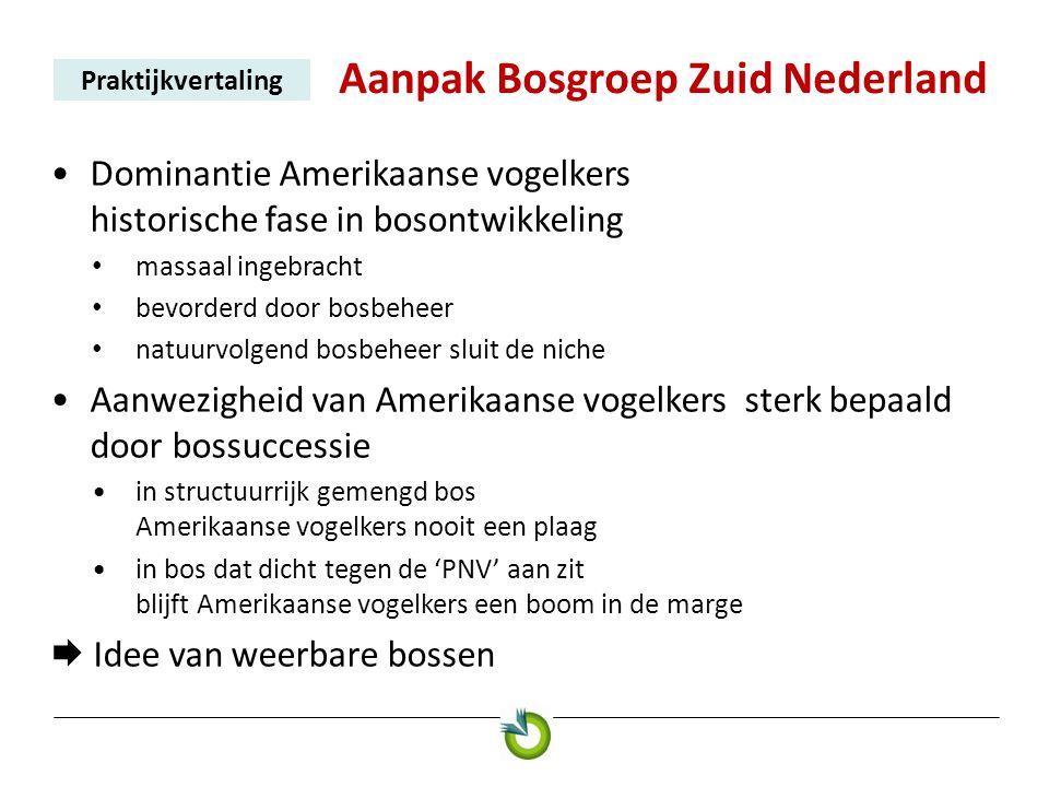 Aanpak Bosgroep Zuid Nederland Praktijkvertaling •Dominantie Amerikaanse vogelkers historische fase in bosontwikkeling • massaal ingebracht • bevorder