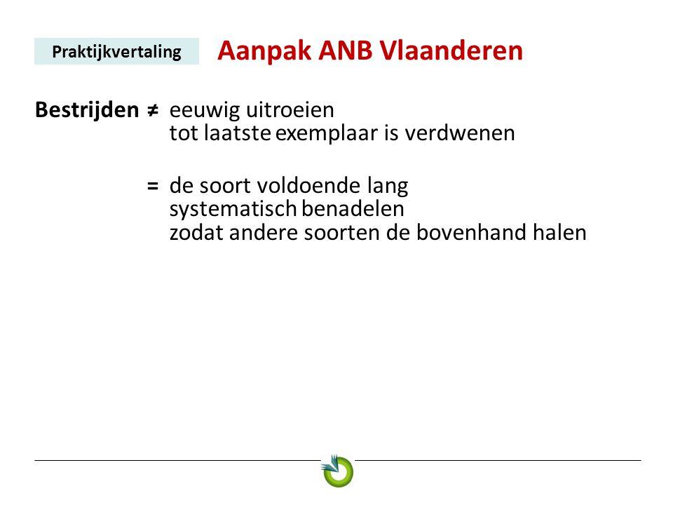 Aanpak ANB Vlaanderen Praktijkvertaling Bestrijden≠ eeuwig uitroeien tot laatste exemplaar is verdwenen = de soort voldoende lang systematisch benadel