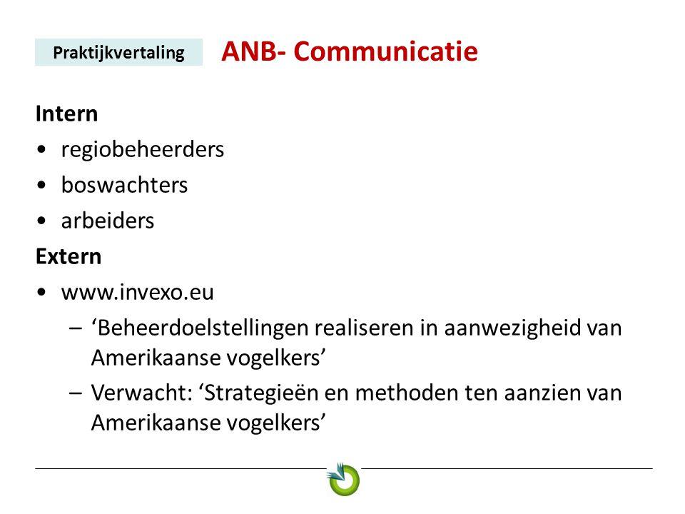 ANB- Communicatie Praktijkvertaling Intern •regiobeheerders •boswachters •arbeiders Extern •www.invexo.eu –'Beheerdoelstellingen realiseren in aanwezi