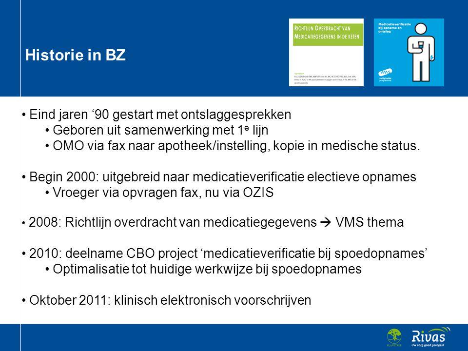 Ervaringen uit het verleden (ontslag) • Medicatieverificatie bij ontslag door het FSP • 1 OMO: compleet, eenduidig en op de dag van ontslag naar apotheek.