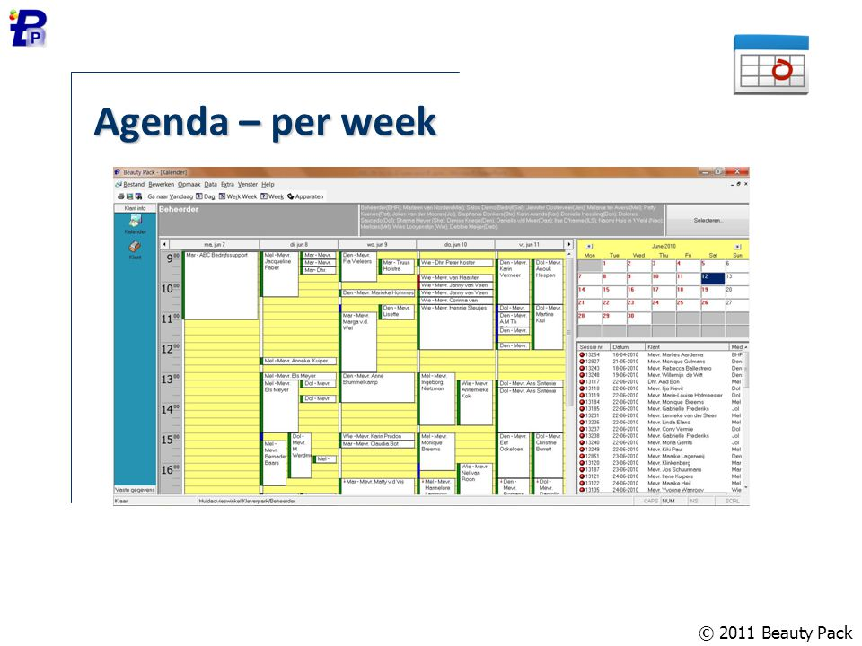 © 2011 Beauty Pack Agenda – per week