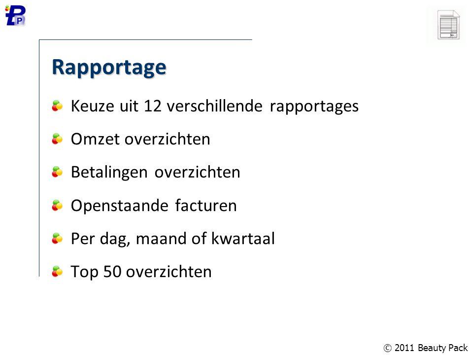 Rapportage Keuze uit 12 verschillende rapportages Omzet overzichten Betalingen overzichten Openstaande facturen Per dag, maand of kwartaal Top 50 over