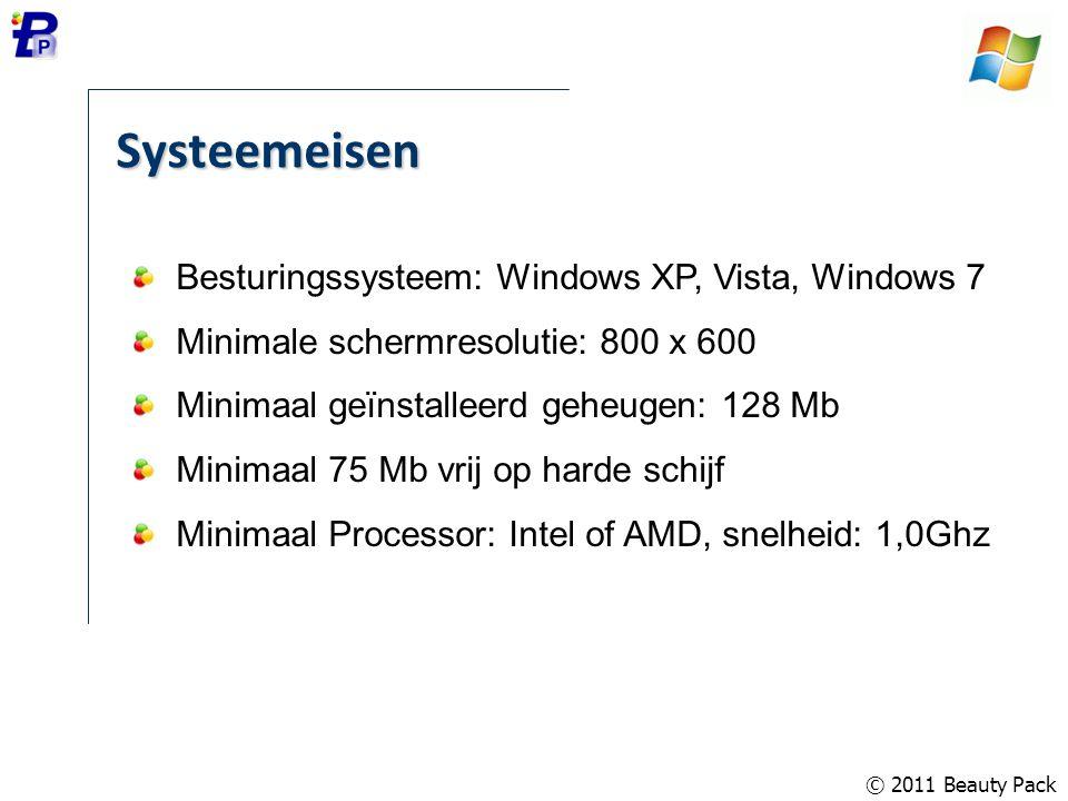 © 2011 Beauty Pack Systeemeisen Besturingssysteem: Windows XP, Vista, Windows 7 Minimale schermresolutie: 800 x 600 Minimaal geïnstalleerd geheugen: 1