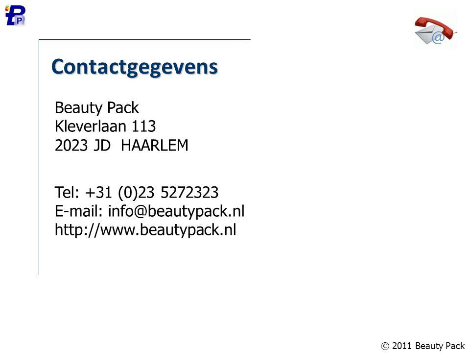 Contactgegevens Beauty Pack Kleverlaan 113 2023 JD HAARLEM Tel: +31 (0)23 5272323 E-mail: info@beautypack.nl http://www.beautypack.nl