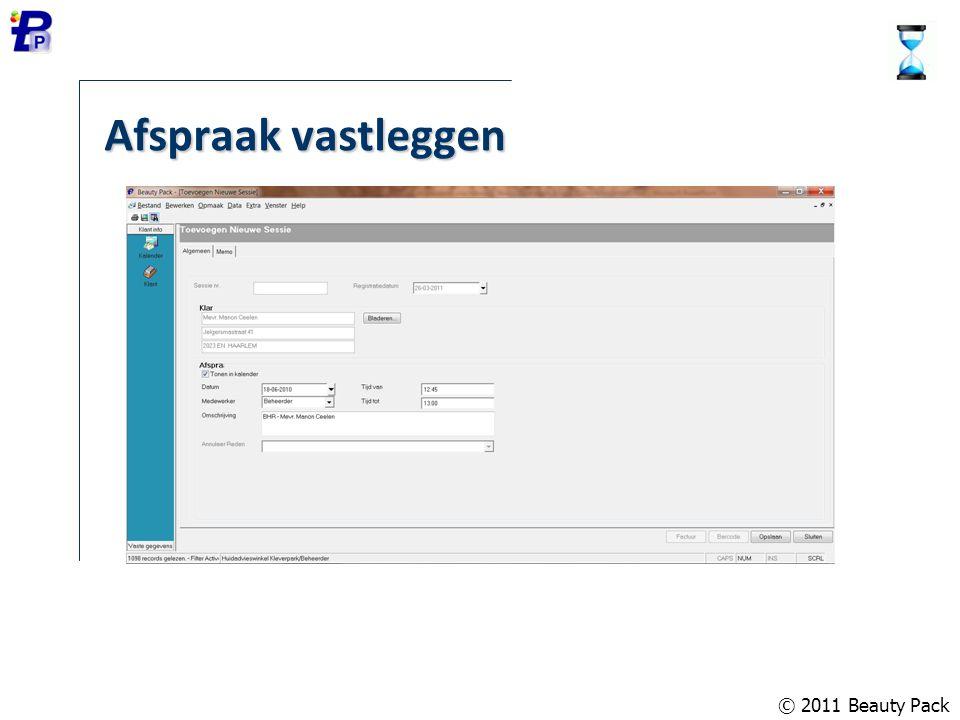 © 2011 Beauty Pack Database onderhoud Aanmaken nieuwe database (onbeperkt) Comprimeren en repareren Onderhoud gebruikers en gebruikersgroepen Blokkeren database Backup en Restore Opschonen gegevens
