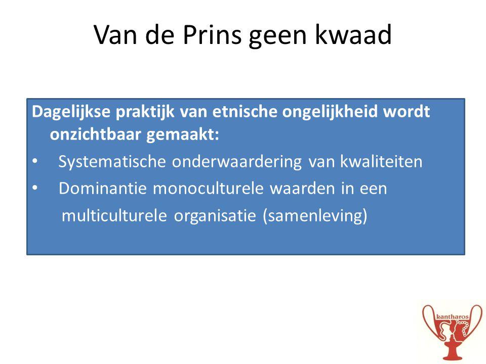 Van de Prins geen kwaad Dagelijkse praktijk van etnische ongelijkheid wordt onzichtbaar gemaakt: • Systematische onderwaardering van kwaliteiten • Dom