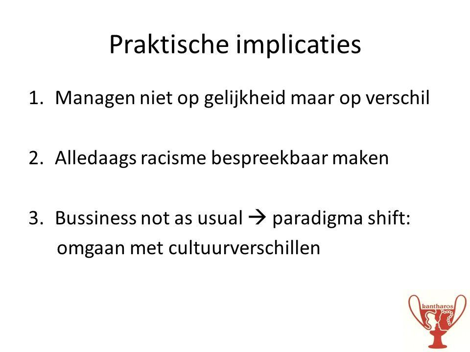 Praktische implicaties 1.Managen niet op gelijkheid maar op verschil 2.Alledaags racisme bespreekbaar maken 3.Bussiness not as usual  paradigma shift