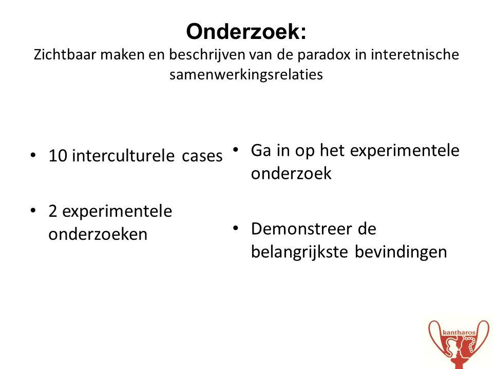 • 10 interculturele cases • 2 experimentele onderzoeken • Ga in op het experimentele onderzoek • Demonstreer de belangrijkste bevindingen Onderzoek: Z