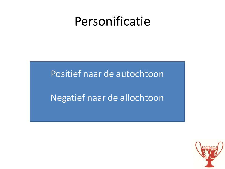 Personificatie Positief naar de autochtoon Negatief naar de allochtoon