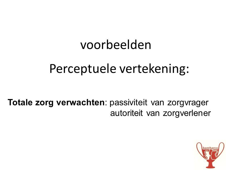 voorbeelden Perceptuele vertekening: Totale zorg verwachten: passiviteit van zorgvrager autoriteit van zorgverlener
