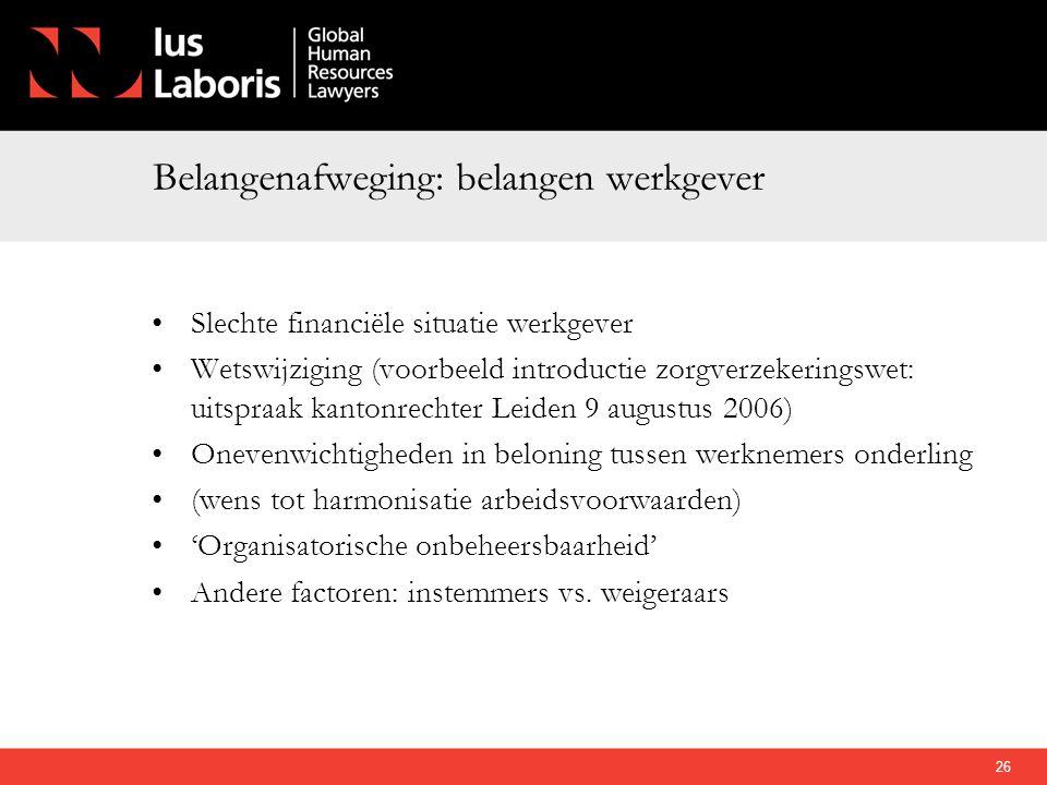 Belangenafweging: belangen werkgever •Slechte financiële situatie werkgever •Wetswijziging (voorbeeld introductie zorgverzekeringswet: uitspraak kanto