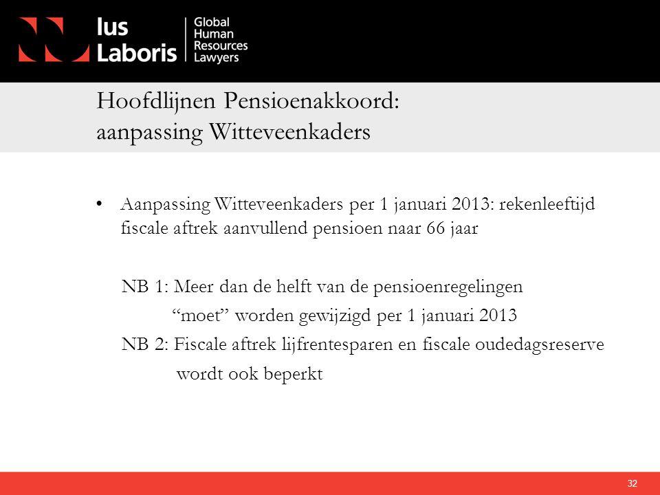 Hoofdlijnen Pensioenakkoord: aanpassing Witteveenkaders •Aanpassing Witteveenkaders per 1 januari 2013: rekenleeftijd fiscale aftrek aanvullend pensio