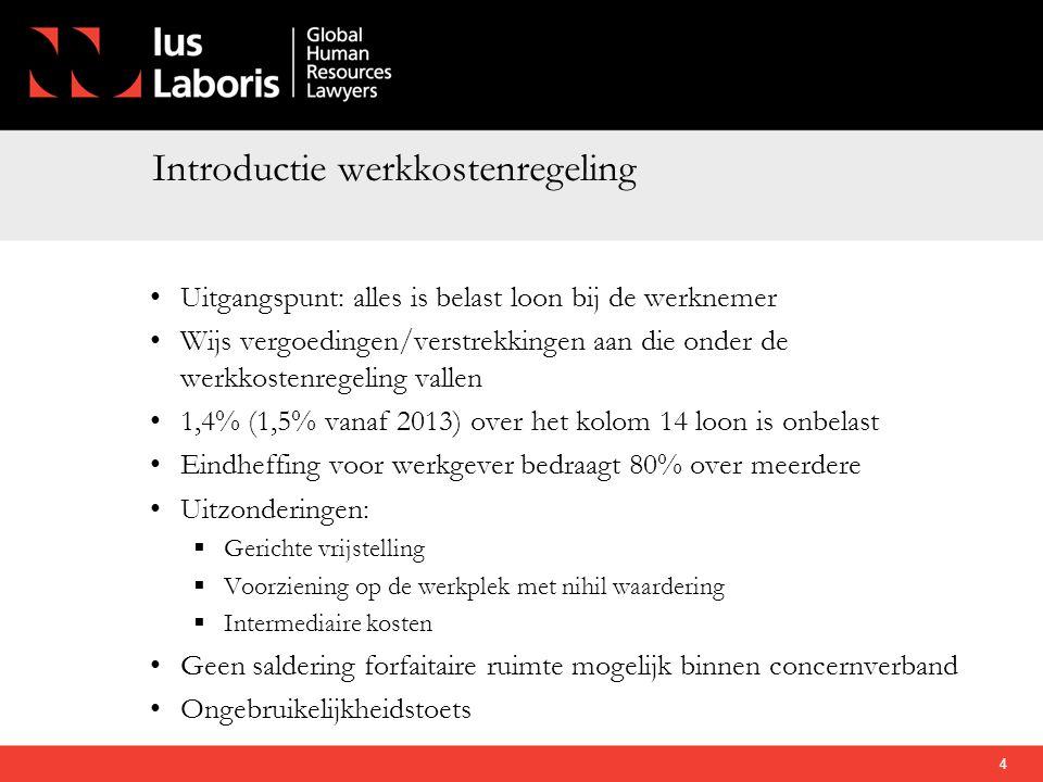 Introductie werkkostenregeling • Uitgangspunt: alles is belast loon bij de werknemer • Wijs vergoedingen/verstrekkingen aan die onder de werkkostenreg