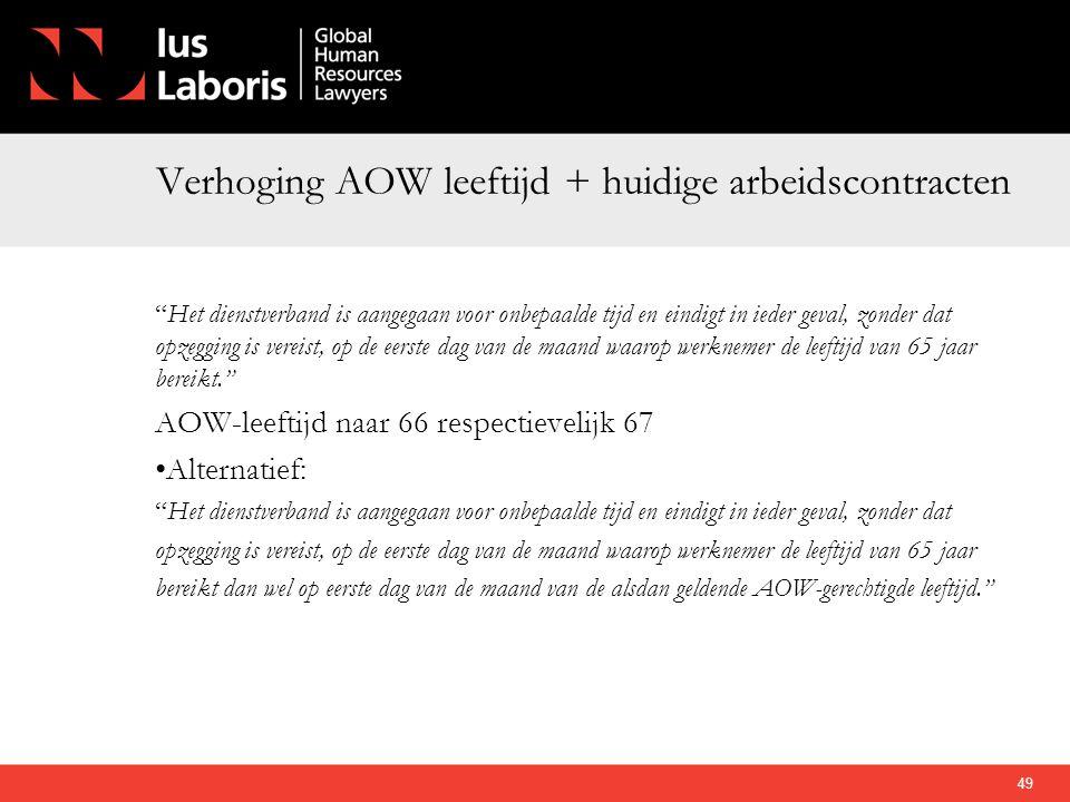 """Verhoging AOW leeftijd + huidige arbeidscontracten """"Het dienstverband is aangegaan voor onbepaalde tijd en eindigt in ieder geval, zonder dat opzeggin"""