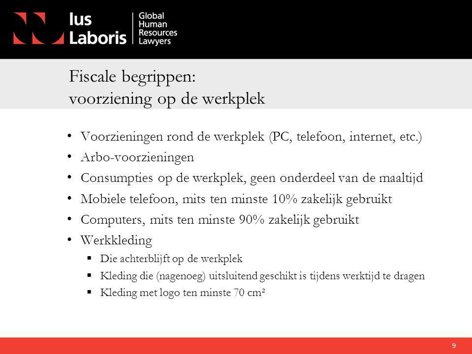 Fiscale begrippen: voorziening op de werkplek • Voorzieningen rond de werkplek (PC, telefoon, internet, etc.) • Arbo-voorzieningen • Consumpties op de