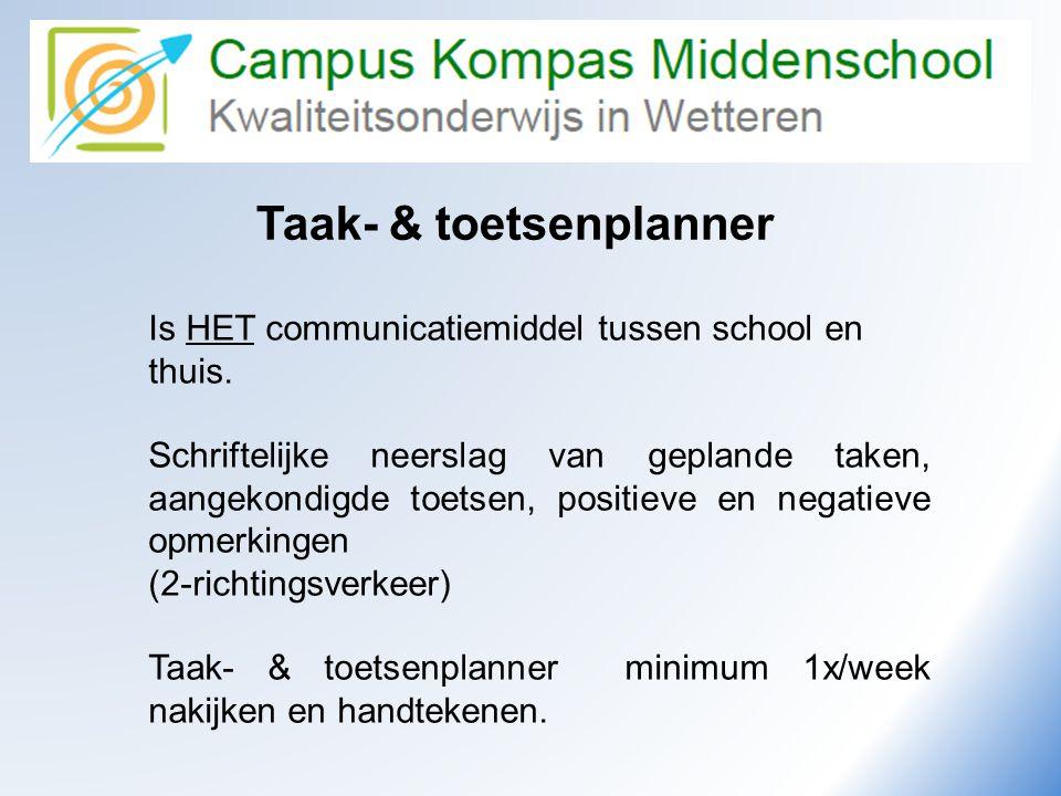 Camus Kompas Kwaliteitsonderwijs in Wetteren Taak- & toetsenplanner Is HET communicatiemiddel tussen school en thuis. Schriftelijke neerslag van gepla