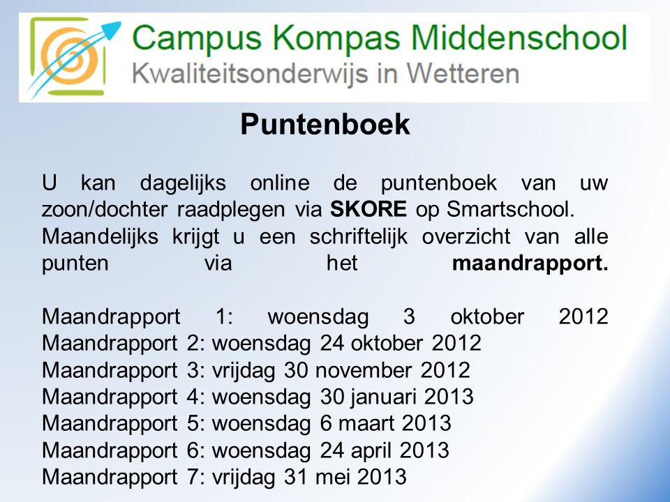 Puntenboek U kan dagelijks online de puntenboek van uw zoon/dochter raadplegen via SKORE op Smartschool. Maandelijks krijgt u een schriftelijk overzic