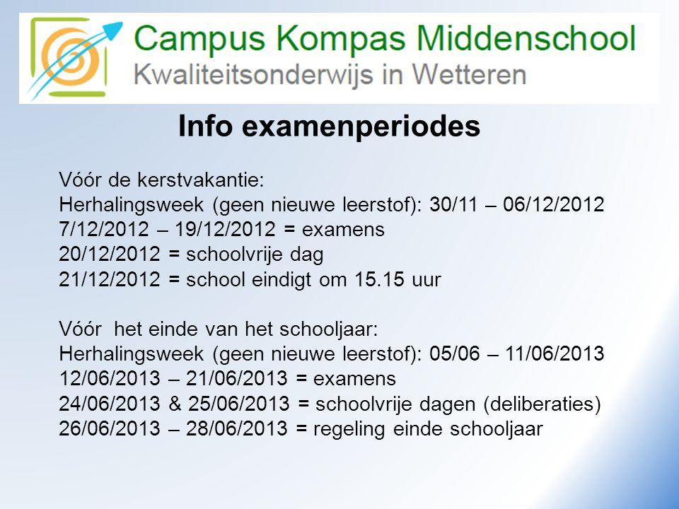 Info examenperiodes Vóór de kerstvakantie: Herhalingsweek (geen nieuwe leerstof): 30/11 – 06/12/2012 7/12/2012 – 19/12/2012 = examens 20/12/2012 = sch