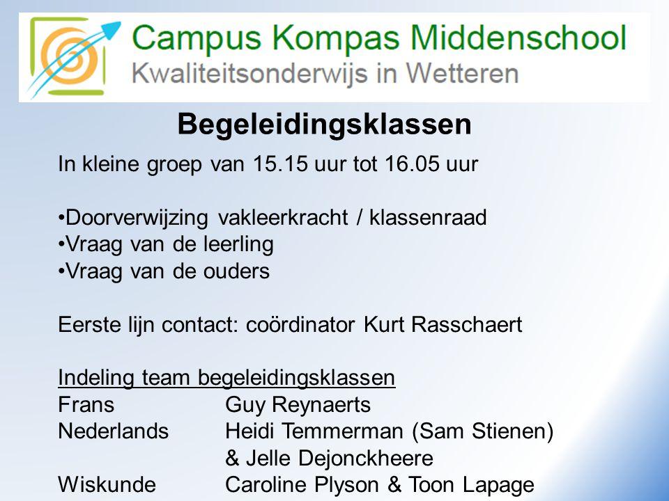 Begeleidingsklassen In kleine groep van 15.15 uur tot 16.05 uur •Doorverwijzing vakleerkracht / klassenraad •Vraag van de leerling •Vraag van de ouder