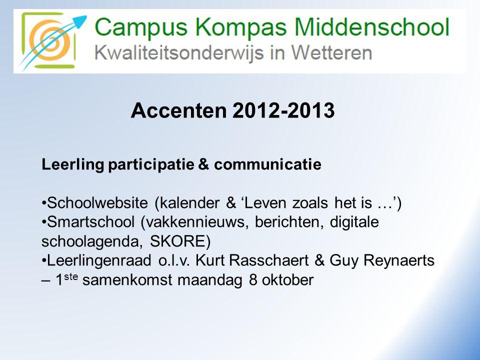 Camus Kompas Kwaliteitsonderwijs in Wetteren Accenten 2012-2013 Leerling participatie & communicatie •Schoolwebsite (kalender & 'Leven zoals het is …'