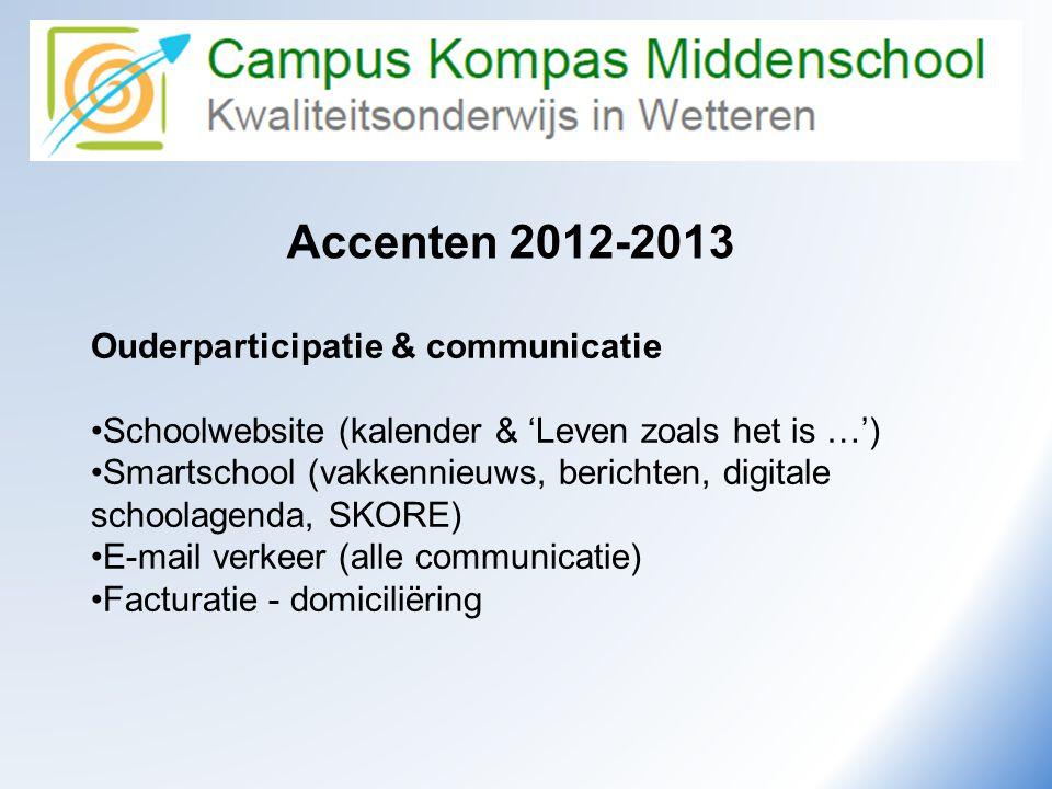 Camus Kompas Kwaliteitsonderwijs in Wetteren Accenten 2012-2013 Ouderparticipatie & communicatie •Schoolwebsite (kalender & 'Leven zoals het is …') •S
